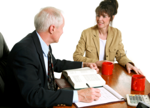 Old Man talking To Lady, Investment Risk Questionnaire