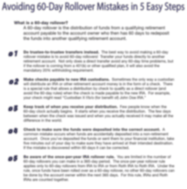 Avoiding 60-Day IRA Rollover Mistakes in 5-easy steps